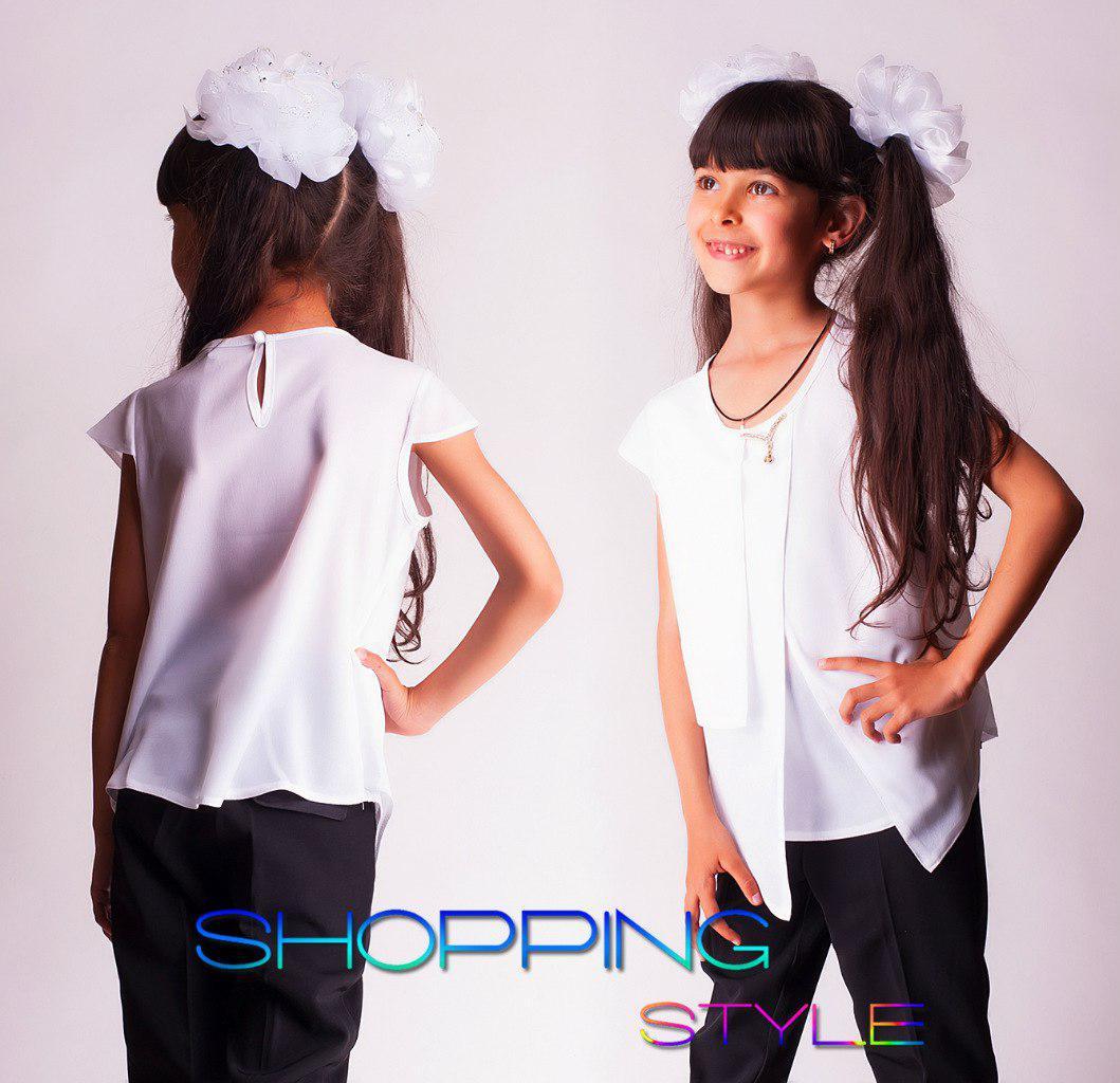 Блузка школьная с коротким рукавом белая и синяя Шифон Р-ры 30,32,34,36,38,40