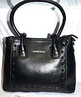 Женская черная сумка из искусственной кожи на 3 отдела 31*23 см