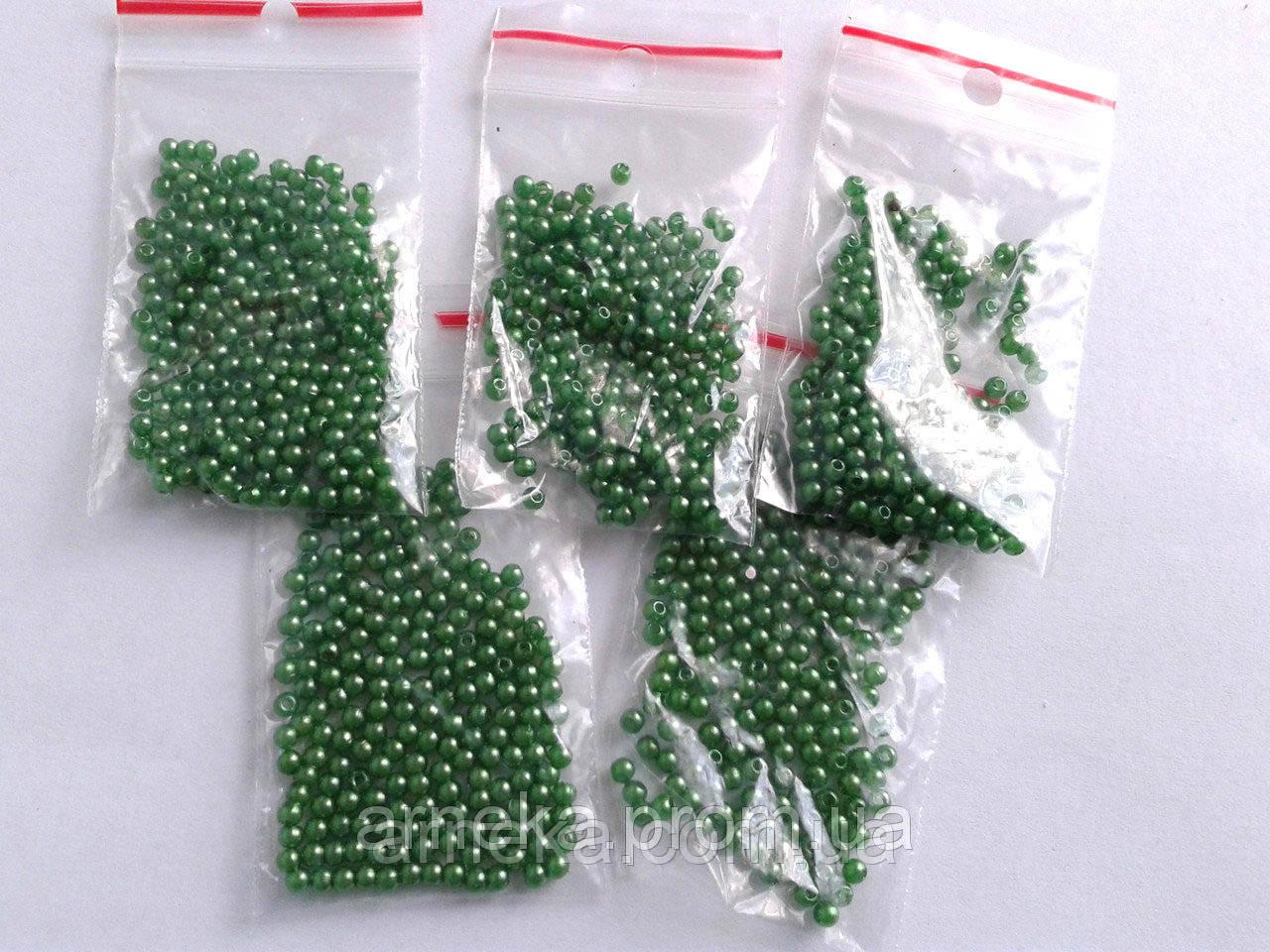 Бусина 0,3 см. 200 шт. Зеленые