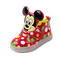 Minnie Mouse Red, Красные в разноцветный горошек светящиеся кроссовки LED, размер 21,23,24 (LK 1030)