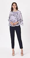 Блузка Artribbon-Lenta-M2975T5001 белорусский трикотаж, сиреневые цветы, 44