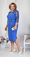 Платье Ninele-5651 белорусский трикотаж, василек, 52