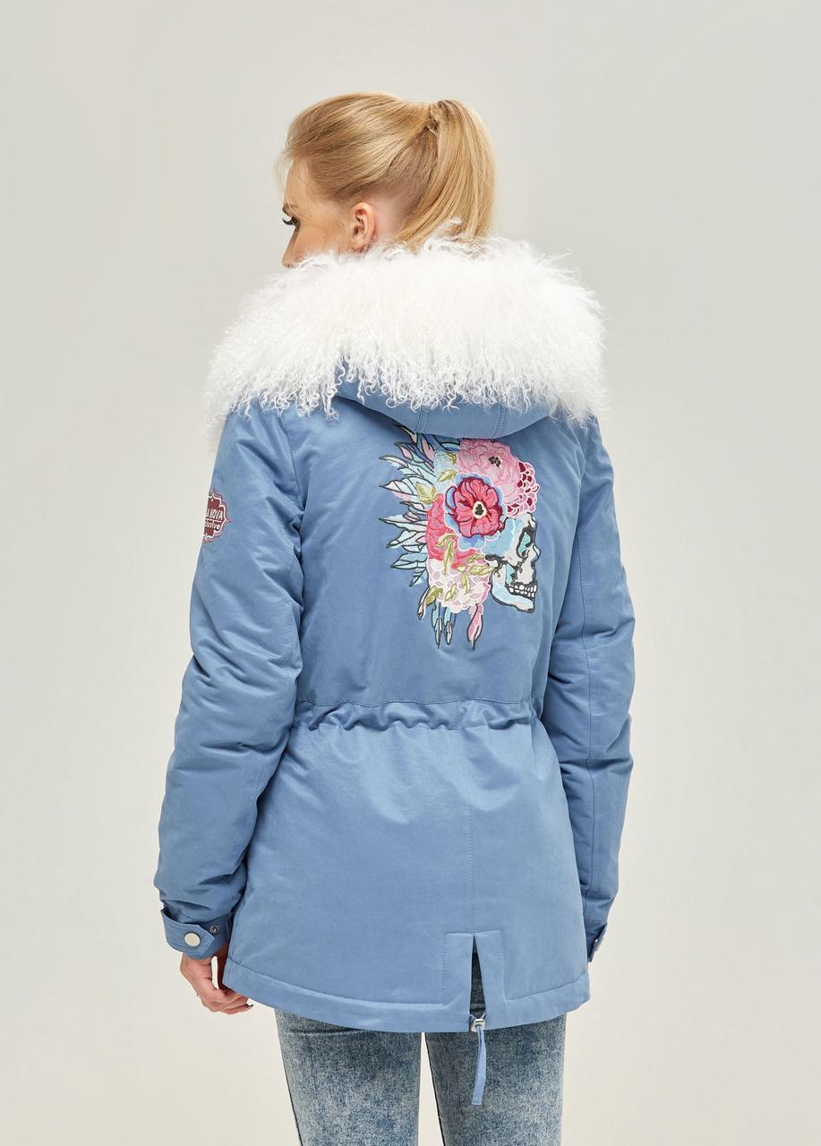 Модная парка женская зимняя с мехом в 2х цветах П-71