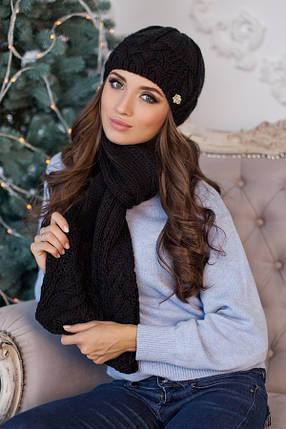 Комплект BRAXTON  «Камелия» (шапка и шарф) 4363-10 черный, фото 2