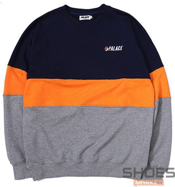 Свитшот Palace Grey/Blue/Orange (ориг.бирка)