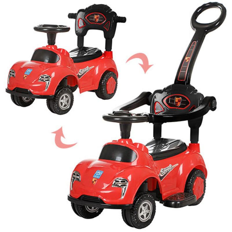 Каталка толокар Машина красная с родительской ручкой 2 в 1, подставка для ног, музыка, свет, Bambi M 3274-3