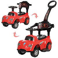 Каталка толокар Машина красная с родительскойручкой 2 в 1, подставка для ног, музыка, свет, Bambi M 3274-3