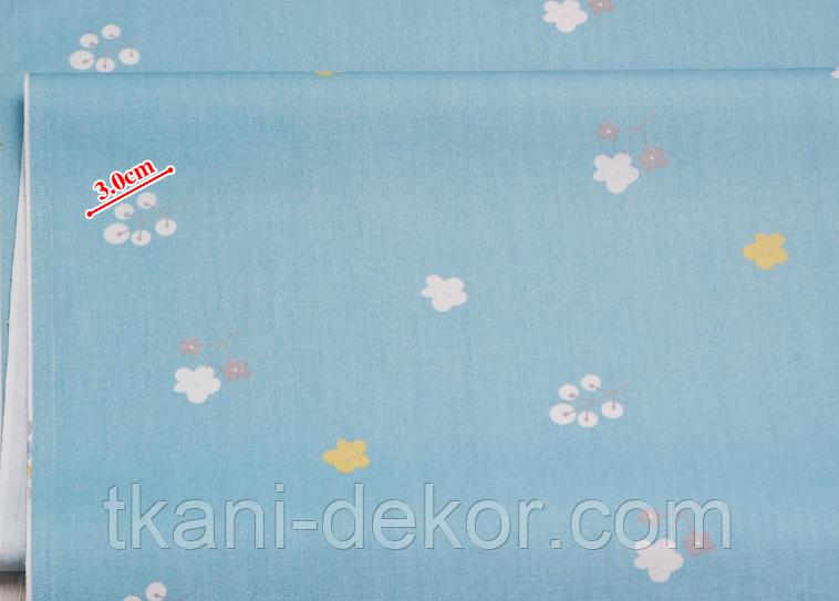 Сатин (хлопковая ткань) на бирюза цветочки,кустики(компаньон к лесным зверям)(90*160)
