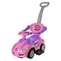 Каталка толокар Машина розоваяс родительскойручкой 2 в 1, подставка для ног, музыка, свет, Bambi Z 382-8