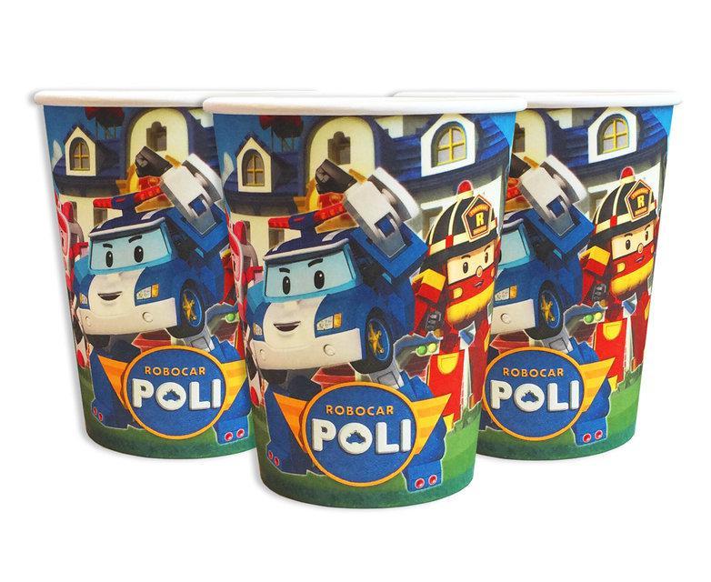 """Детские праздничные стаканчики """"Поли Робокар """"10 штук"""