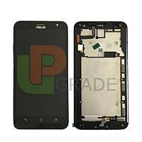 Дисплей для Asus ZenFone 2 Laser (ZE500KL/ZE500KG/ZE500ML) + тачскрин, черный, с передней панелью