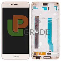 """Дисплей для Asus ZenFone 3 Max 5.2"""" (ZC520TL) + тачскрин, золотистый, Sand Gold, с передней панелью"""