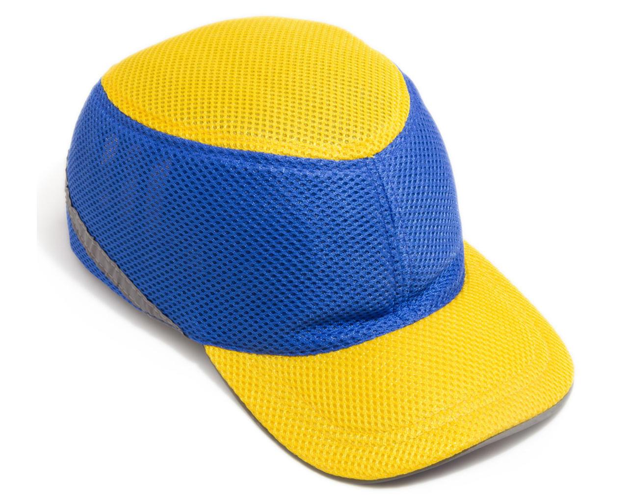 Каска-бейсболка ударопрочная со светоотражающей лентой (цвет жёлто-синяя)