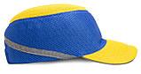 Каска-бейсболка ударопрочная со светоотражающей лентой (цвет жёлто-синяя), фото 2