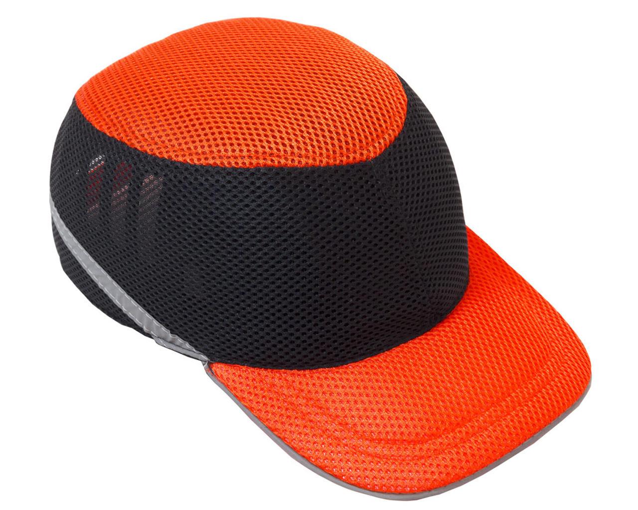 Каска-бейсболка ударопрочная со светоотражающей лентой (цвет оранжево-чёрная)