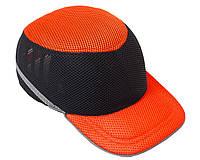 Каска-бейсболка ударопрочная со светоотражающей лентой (цвет оранжево-чёрная), фото 1