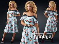 Летнее цветочное платье миди 88325