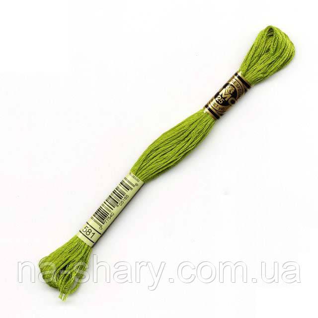 Мулине DMC (ДМС) арт.581,зеленый, нитки для вышивания 8м. Франция, Оригинал