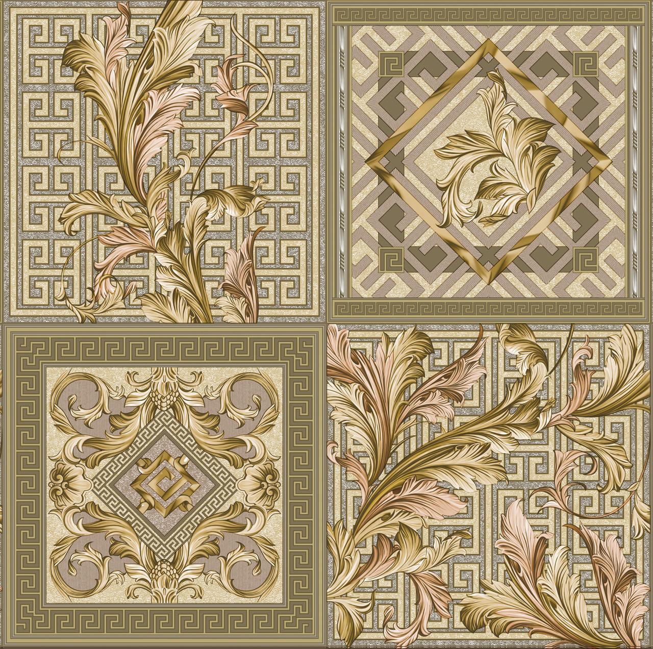 Шпалери паперові вологостійкі Версаче кахель оливковий 2159