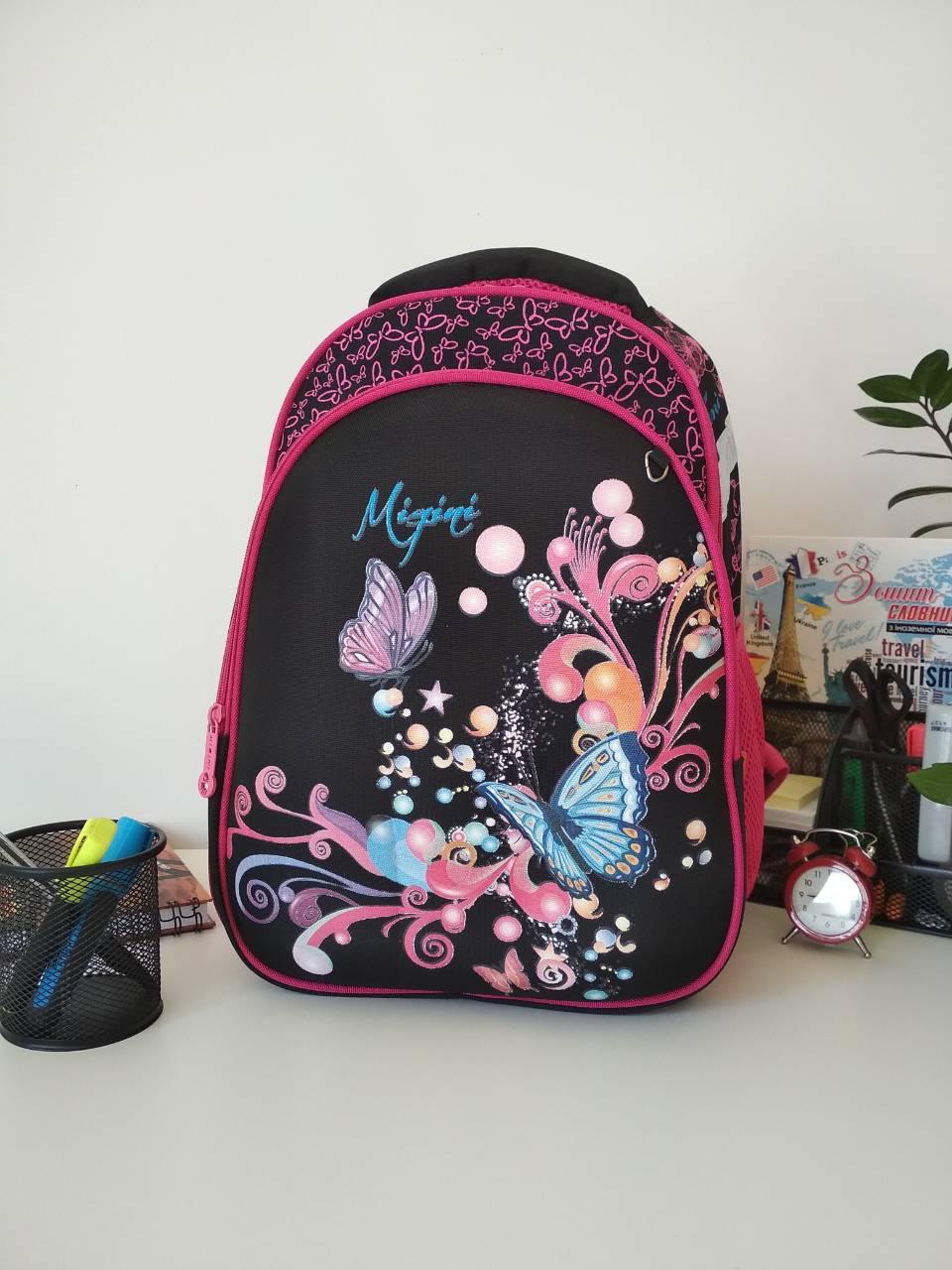 Стильний шкільний рюкзак для дівчаток Migini принт Метелики 39*29*16 см