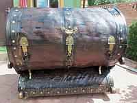 Круглый сундук (скрыня) из векового дерева антиквариат