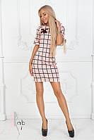 Платье в клетку с брошкой / креп костюмный / Украина 40-1649, фото 1
