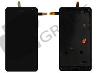 Дисплей для Microsoft 535 Lumia Dual Sim (RM-1090) + тачскрин (CT2S1973FPC-A1-E), черный, с передней панелью, оригинал (Китай)