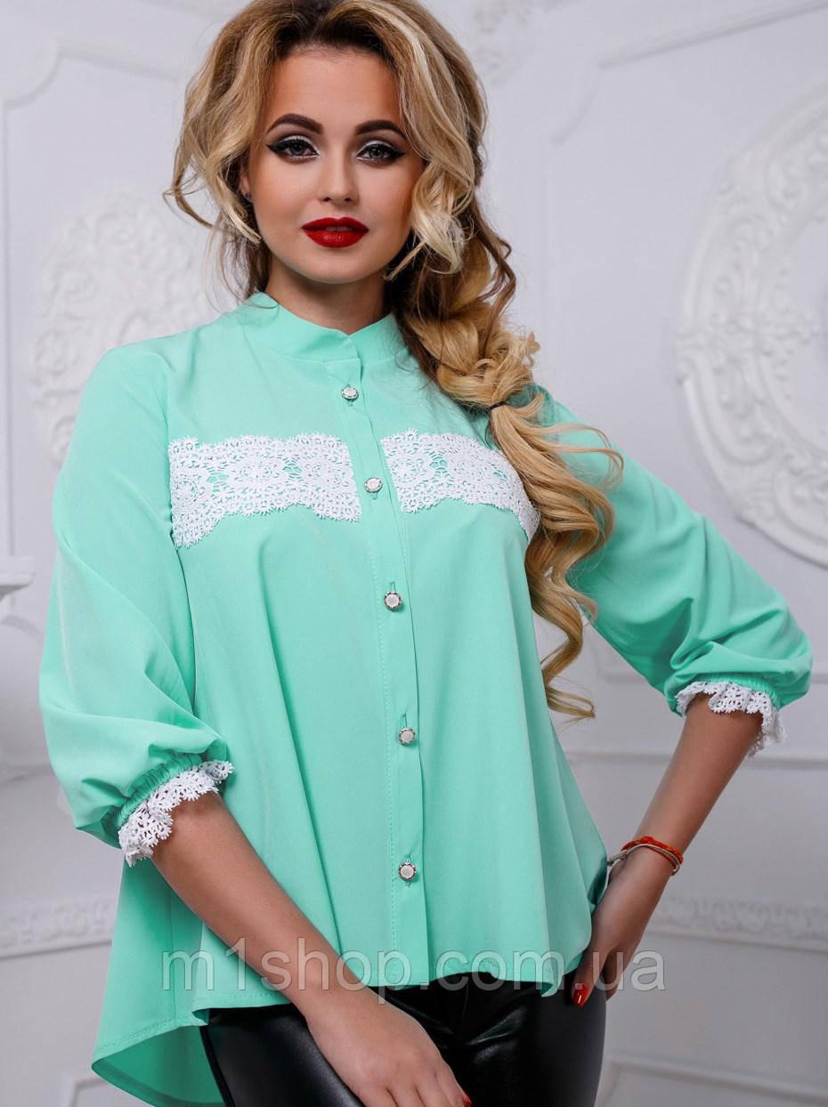Женская нежная блуза с белым кружевом на груди и рукавах (2587-2585-2586-2583 svt)