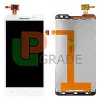Дисплей  Prestigio MultiPhone PAP5044 Duo/Pioneer S90W + тачскрин (сенсор), белый, оригинал