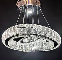 Подвесная LED хрустальная люстра два кольца c диммерным пультом, фото 1