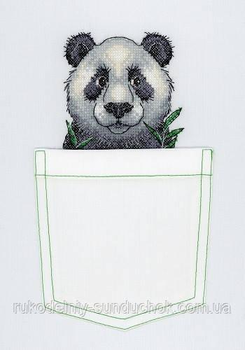 """Набор для вышивки на водорастворимой канве """"М.П.Студия"""" Веселая панда В-241 (на карман)"""