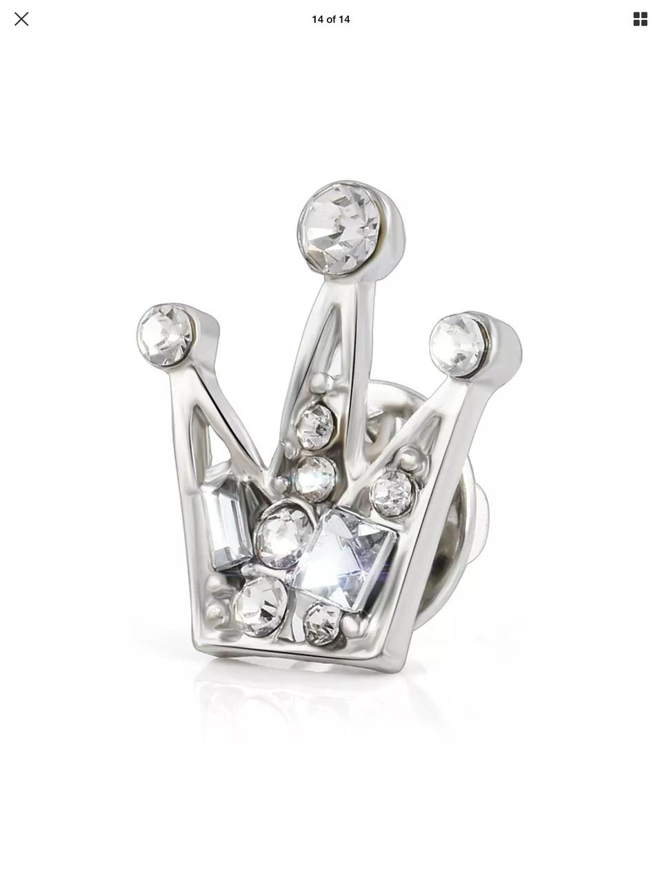 Брошь унисекс стильная с камнями под серебро «Corona»