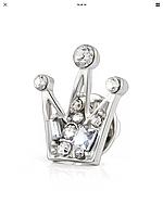 Брошь унисекс стильная с камнями под серебро «Corona», фото 1
