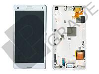 Дисплей для Sony D5803 Xperia Z3 Compact/D5833 + тачскрин, белый, с передней панелью, оригинал (Китай)