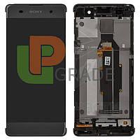 Дисплей для Sony F3111 Xperia XA/F3112/F3113/F3115/F3116 + тачскрин, серый, Graphite Black, с передней панелью, оригинал (Китай)