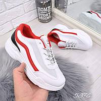 Кроссовки женские белые + красный с сеткой , женская обувь