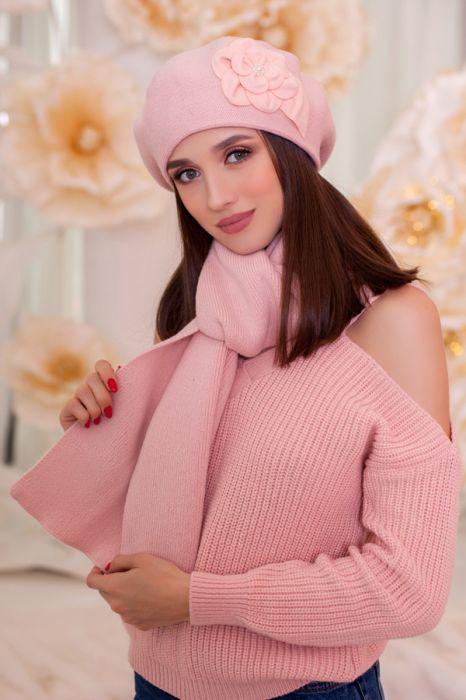 Зимний женский комплект «Моника» (берет и шарф) Пудра