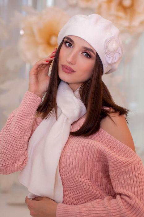 Зимний женский комплект «Арманда» (берет и шарф) Белый
