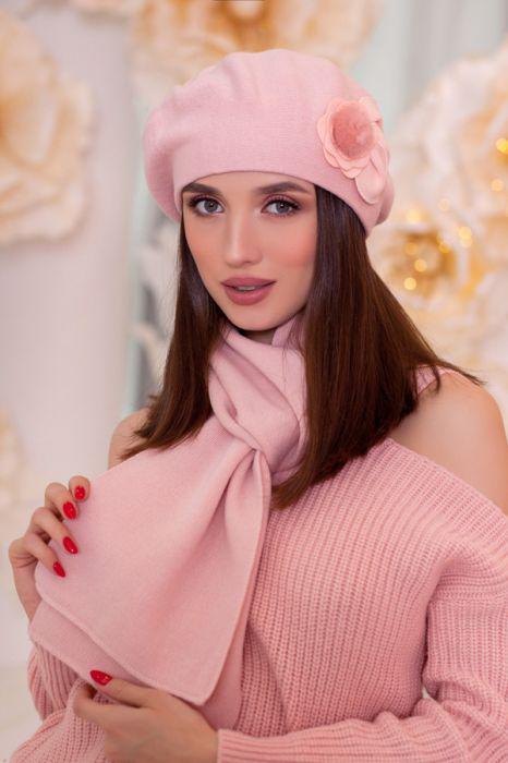 Зимний женский комплект «Арманда» (берет и шарф) Пудра