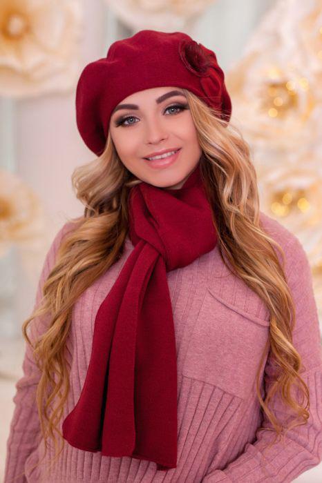 Зимний женский комплект «Арманда» (берет и шарф)