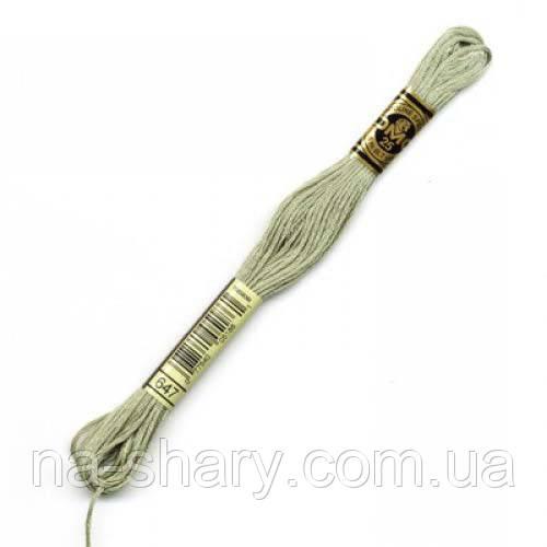 Мулине DMC (ДМС) арт.647,серый, нитки для вышивания 8м. Франция, Оригинал
