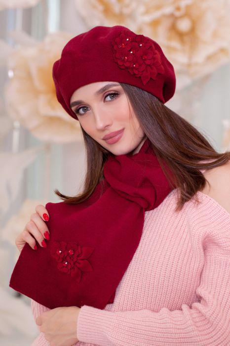 Зимний женский комплект «Колерия» (берет и шарф) Бордовый