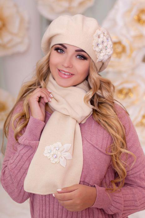 Зимний женский комплект «Колерия» (берет и шарф) Песочный