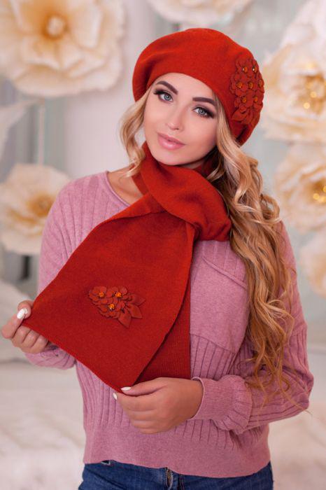 Зимний женский комплект «Колерия» (берет и шарф) Терракотовый