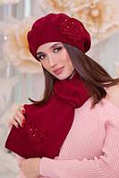 Зимний женский комплект «Колерия» (берет и шарф), фото 1