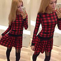 """Женское платье """"Шотландка"""" (синее, красное), фото 1"""
