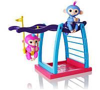 WowWee Fingerlings Интерактивные ручные обезьянки с детской площадкой Liv Simone Baby Monkey Playground