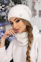 Зимний женский комплект «Шарлин» (шапка и шарф-хомут) Белый