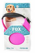 Поводок-рулетка для собак FOX с прорезиненной ручкой 5 метров, красный, фото 2