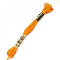 Мулине DMC (ДМС) арт.741,оранжевый, нитки для вышивания 8м. Франция, Оригинал